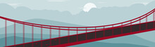 Panoramic Red Bridge And Mountain Landscape With Blue Sky, White Clouds.
