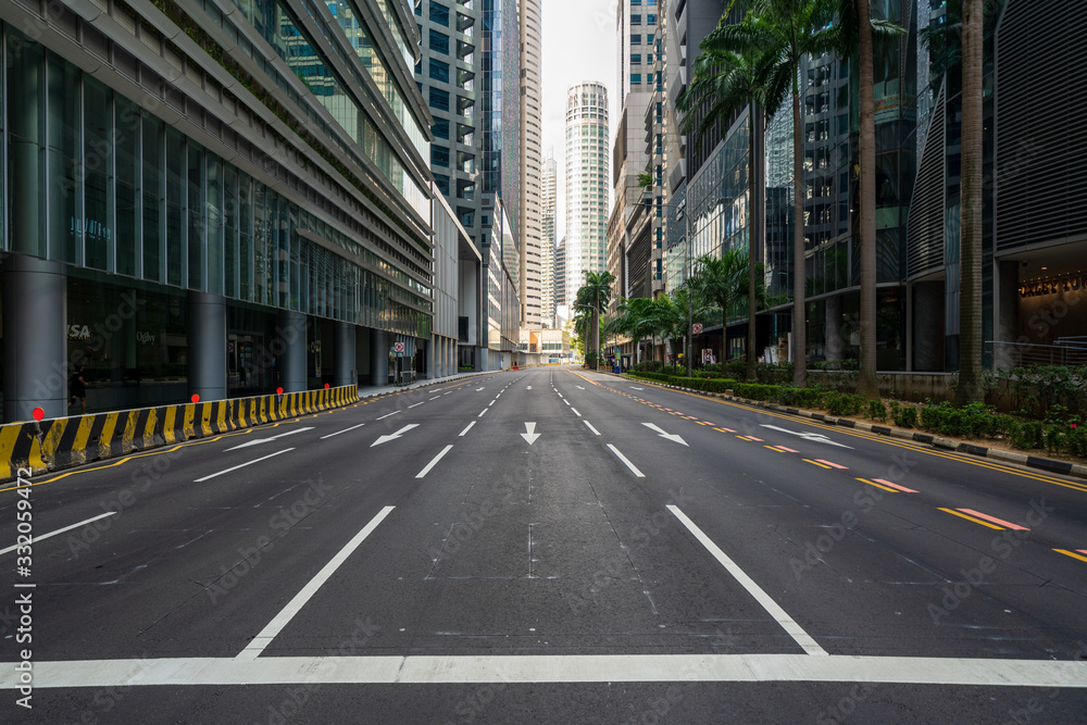 Quiet Singapore street with less tourists and cars during the pandemic of Coronavirus disease (COVID-19).
