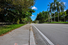 Coronavirus Sidewalk Quarantine Empty Commercial Office Blue Sky Covid19