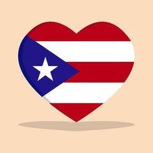 The National Flag Of  Puerto Rico Love Icon Isolated On Cream Background Vector Illustration