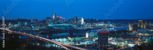 Panoramic night shot of Cincinnati skyline and lights, Ohio and Ohio River as seen from Covington, KY
