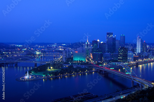 Photo Intersection of Allegheny River, Monongahela River and Ohio River at dusk from M