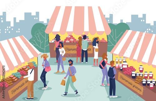 Stampa su Tela Homemade Food Fair and People Characters Cartoon