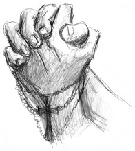 Praying Hands With Cross Illus...