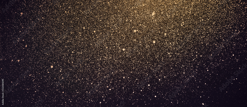 Fototapeta Festive banner with golden shiny paint splashes. Abstract cosmos