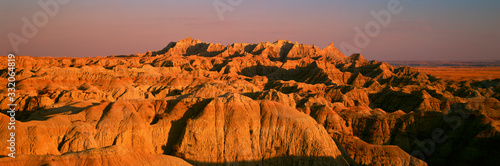 Sunset panoramic view of mountains in Badlands National Park in South Dakota Fototapet