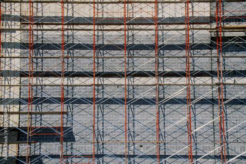 Obraz na plátně Abstract detail of scaffolding on building renovation, Ft