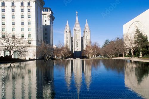 Papel de parede Downtown Salt Lake city with Temple Square, home of Mormon Tabernacle Choir duri