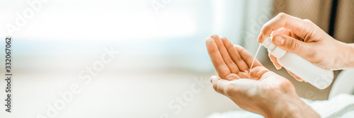 Obraz Washing hands rubbing with alcohol gel or antibacterial soap for corona virus prevention, hygiene to stop spreading coronavirus. - fototapety do salonu