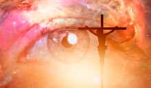 """Jesus On The Cross At Sunset On The Background Girl's Eye And Cosmos """"Elements Of This Image Furnished By NASA"""""""