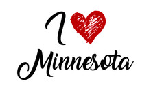 I Love Minnesota Handwritten Cursive Typographic Template With Red Heart.