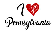 I Love Pennsylvania Handwritten Cursive Typographic Template With Red Heart.