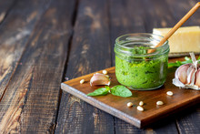Italian Pesto Sauce On A Woode...