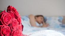 Beautiful Woman Sleeping In Be...