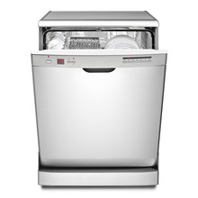 Open Dishwasher Machine Isolated On White Background. Front View Of Modern Freestanding Stainless Steel Open Dishwasher Range. Domestic Appliances. Home And Kitchen Appliance. Clipping Path