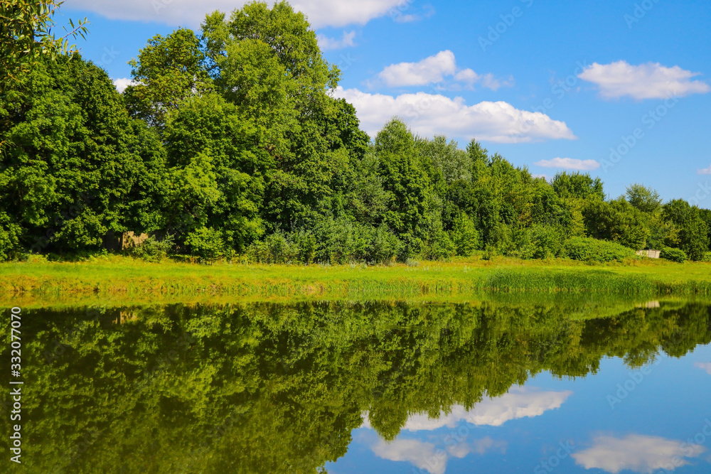 Reflection of trees and clouds in a lake or river. Sunny summer day. - obrazy, fototapety, plakaty