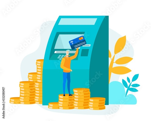 Photo Tiny Cartoon Man Character Standing on Coins Stack with Card near Huge Flat ATM
