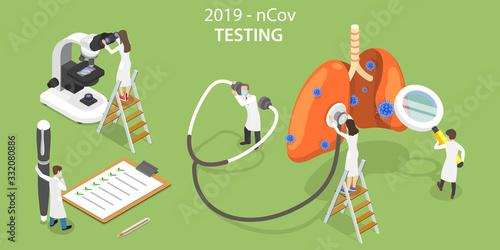Obraz 3D Vector Isometric Concept of 2019-nCov Virus Laboratory Testing. - fototapety do salonu