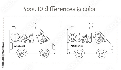 Photo Medical find differences game and coloring page for children