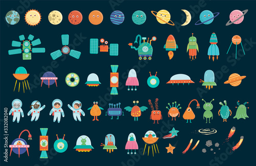 Photo Big vector set of space elements for children