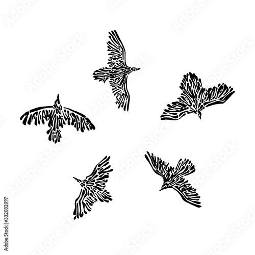 Photo Hand drawn flying wild birds drawn by ink