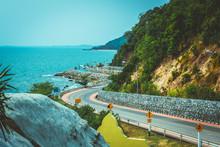 Chanthaburi, Thailand - 18 March 2020: Chalerm Burapha Chonlathit Highway From Noen Nang Phaya Viewpoint And Is A Beautiful Landmark Of Chanthaburi Province, Thailand