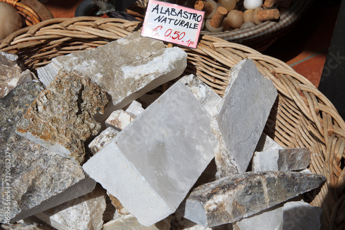 Volterra (SI), Italy - April 25, 2017: Alabstro stone souvenir in Volterra shop, Canvas Print
