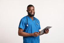 Smiling Black Doc In Blue Unif...