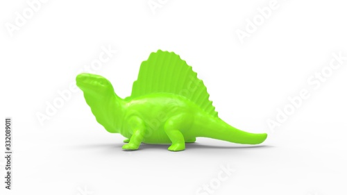 3D rendering of a dinosaur toy play model small on white
