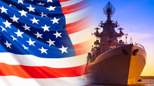 Warship With Locators On The Background Of The American Flag. Us Navy. The Naval Forces Of America. American Fleet. Combat Duty Of American Ships. Protection Of The Country's Water Borders.
