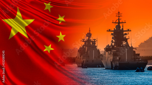 Photo Warships on the background of the flag of China