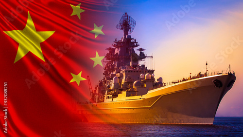 Warship close-up on the background of the Chinese flag Canvas Print