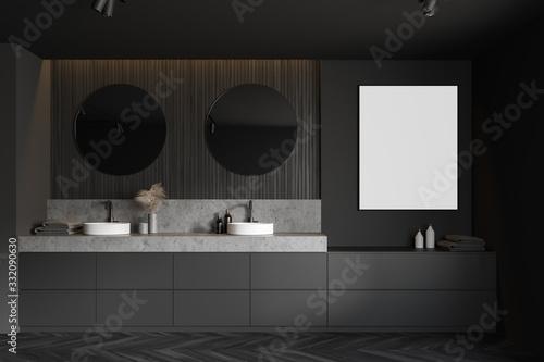 Fototapeta Gray and wooden bathroom, double sink and poster obraz na płótnie