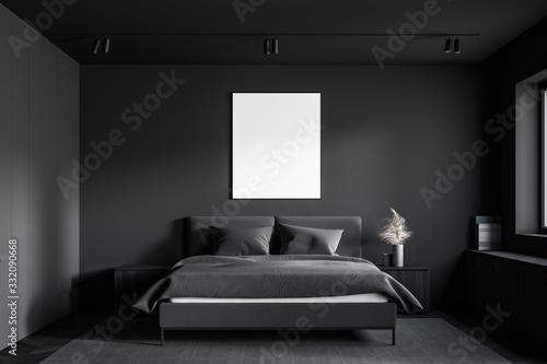 Fototapeta Gray master bedroom with vertical poster obraz
