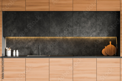 Obraz Wooden countertops in gray kitchen interior - fototapety do salonu
