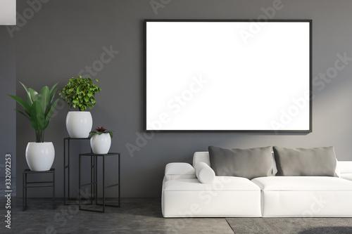 Fototapeta Mock up frame in gray living room with sofa obraz