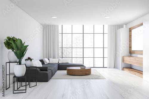 Fototapeta White living room with sofa and table obraz