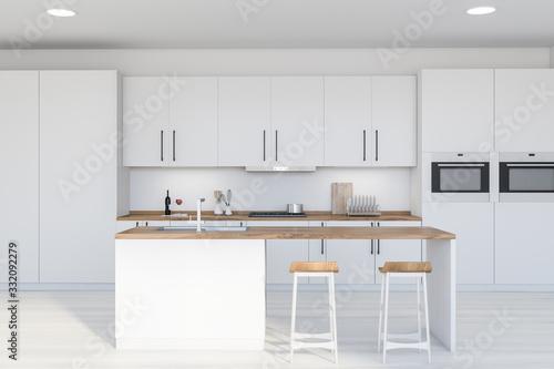 Fototapeta Modern white kitchen interior with bar obraz