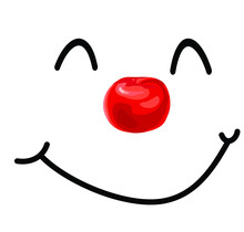 Cute Clown Red Nose Smiling Face Isolated On White Background Laugt Icon