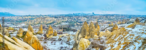 Aerial panorama of Goreme national park, Cappadocia, Turkey Canvas Print