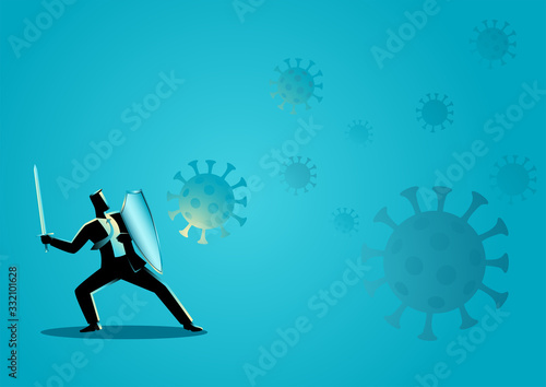 Photo Businessman using shield and sword protecting himself from viruses