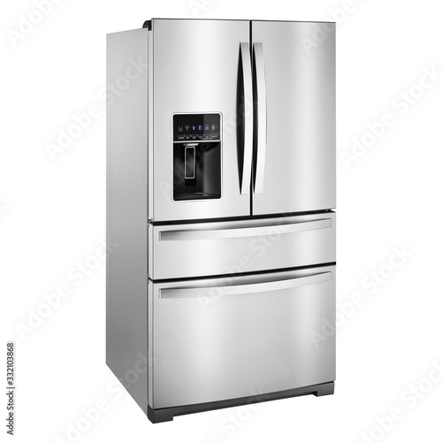 Side View of Refrigerator Isolated on White Background Wallpaper Mural