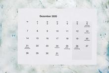 Monatskalender Dezember 2020. Translation: Monthly December 2020 Calendar