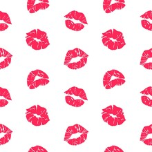 Lipstick Kiss Pattern. Woman L...