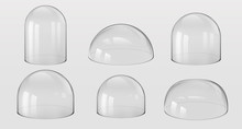 Glass Domes. 3D Realistic Spherical And Hemisphere Kitchen Utensils, Bell Jars, Laboratory And Exhibition Cases. Vector Set Isolated Glossy Shape Vitrin Safety On Transparent Background