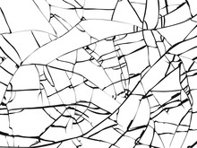 Surface Of Broken Glass Texture. Sketch Shattered Or Crushed Glass Effect. Vector Illustration Isolated On White Baclground