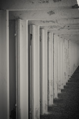 small locker rooms in the line black and white