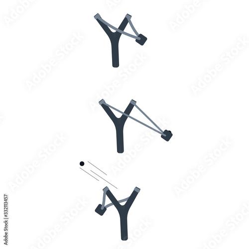 Slingshot. Shooting a slingshot. Vector illustration Tapéta, Fotótapéta