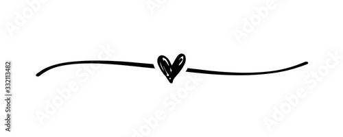 Cuadros en Lienzo Hand drawn elegant shape heart with cute sketch line, divider shape
