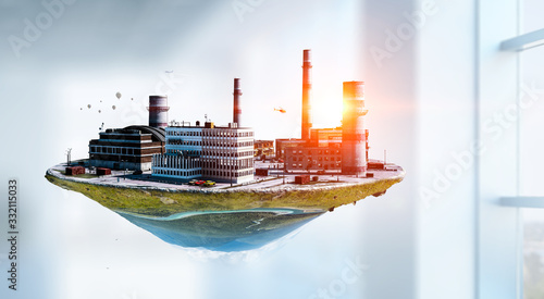 Industrial landscape with chimneys floating